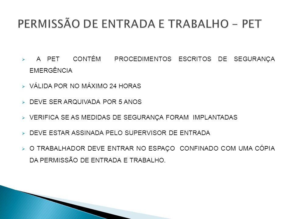 A PET CONTÉM PROCEDIMENTOS ESCRITOS DE SEGURANÇA EMERGÊNCIA VÁLIDA POR NO MÁXIMO 24 HORAS DEVE SER ARQUIVADA POR 5 ANOS VERIFICA SE AS MEDIDAS DE SEGURANÇA FORAM IMPLANTADAS DEVE ESTAR ASSINADA PELO SUPERVISOR DE ENTRADA O TRABALHADOR DEVE ENTRAR NO ESPAÇO CONFINADO COM UMA CÓPIA DA PERMISSÃO DE ENTRADA E TRABALHO.