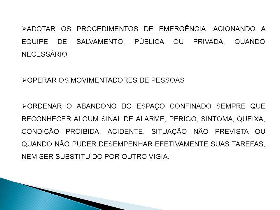 ADOTAR OS PROCEDIMENTOS DE EMERGÊNCIA, ACIONANDO A EQUIPE DE SALVAMENTO, PÚBLICA OU PRIVADA, QUANDO NECESSÁRIO OPERAR OS MOVIMENTADORES DE PESSOAS ORDENAR O ABANDONO DO ESPAÇO CONFINADO SEMPRE QUE RECONHECER ALGUM SINAL DE ALARME, PERIGO, SINTOMA, QUEIXA, CONDIÇÃO PROIBIDA, ACIDENTE, SITUAÇÃO NÃO PREVISTA OU QUANDO NÃO PUDER DESEMPENHAR EFETIVAMENTE SUAS TAREFAS, NEM SER SUBSTITUÍDO POR OUTRO VIGIA.
