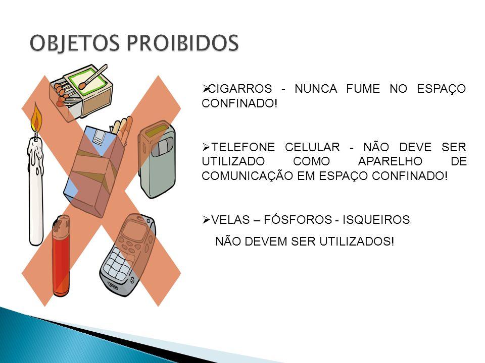 CIGARROS - NUNCA FUME NO ESPAÇO CONFINADO.