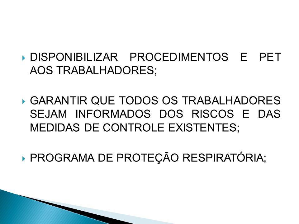 DISPONIBILIZAR PROCEDIMENTOS E PET AOS TRABALHADORES; GARANTIR QUE TODOS OS TRABALHADORES SEJAM INFORMADOS DOS RISCOS E DAS MEDIDAS DE CONTROLE EXISTENTES; PROGRAMA DE PROTEÇÃO RESPIRATÓRIA;