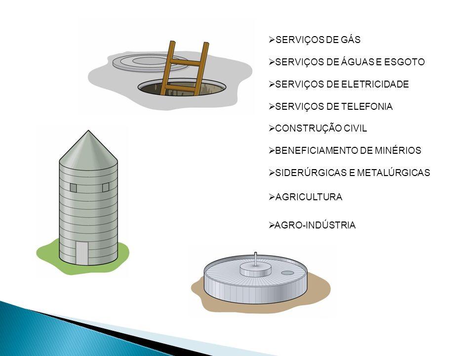 SERVIÇOS DE GÁS SERVIÇOS DE ÁGUAS E ESGOTO SERVIÇOS DE ELETRICIDADE SERVIÇOS DE TELEFONIA CONSTRUÇÃO CIVIL BENEFICIAMENTO DE MINÉRIOS SIDERÚRGICAS E METALÚRGICAS AGRICULTURA AGRO-INDÚSTRIA