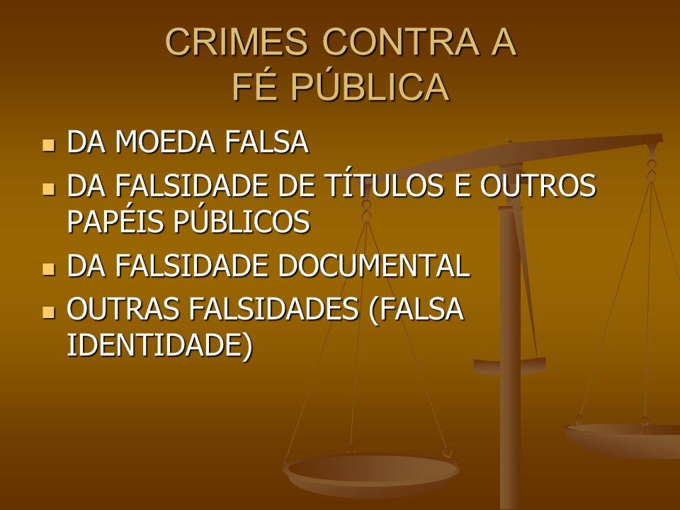 CRIMES CONTRA A FÉ PÚBLICA DA MOEDA FALSA DA MOEDA FALSA DA FALSIDADE DE TÍTULOS E OUTROS PAPÉIS PÚBLICOS DA FALSIDADE DE TÍTULOS E OUTROS PAPÉIS PÚBL