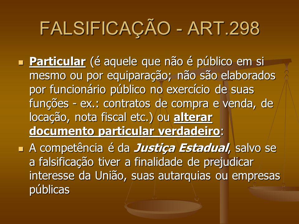 FALSIFICAÇÃO - ART.298 Particular (é aquele que não é público em si mesmo ou por equiparação; não são elaborados por funcionário público no exercício