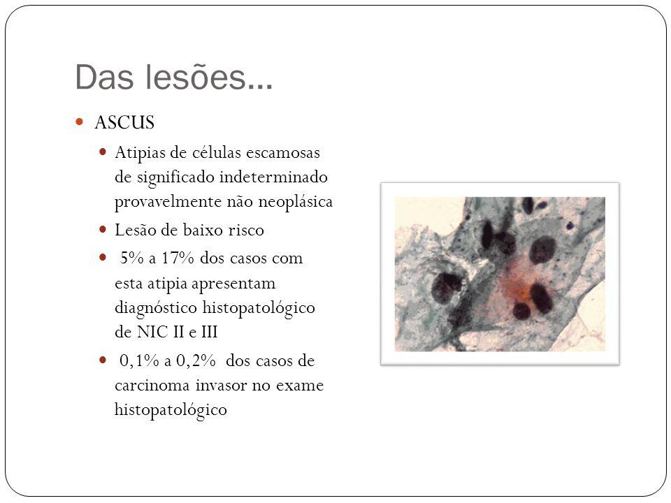Células Escamosas Atípicas de Significado Indeterminado ASC US A colposcopia apresenta alta sensibilidade (96%) e baixa especificidade (48%)- sobrediagnóstico e de sobretratamento.
