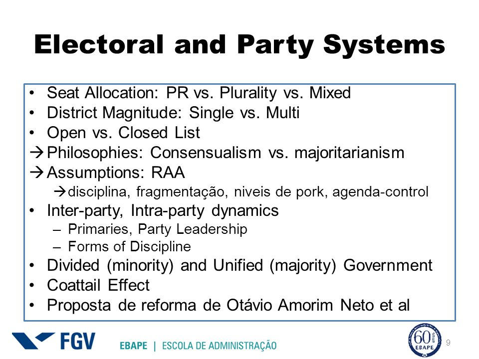 Electoral and Party Systems Seat Allocation: PR vs.