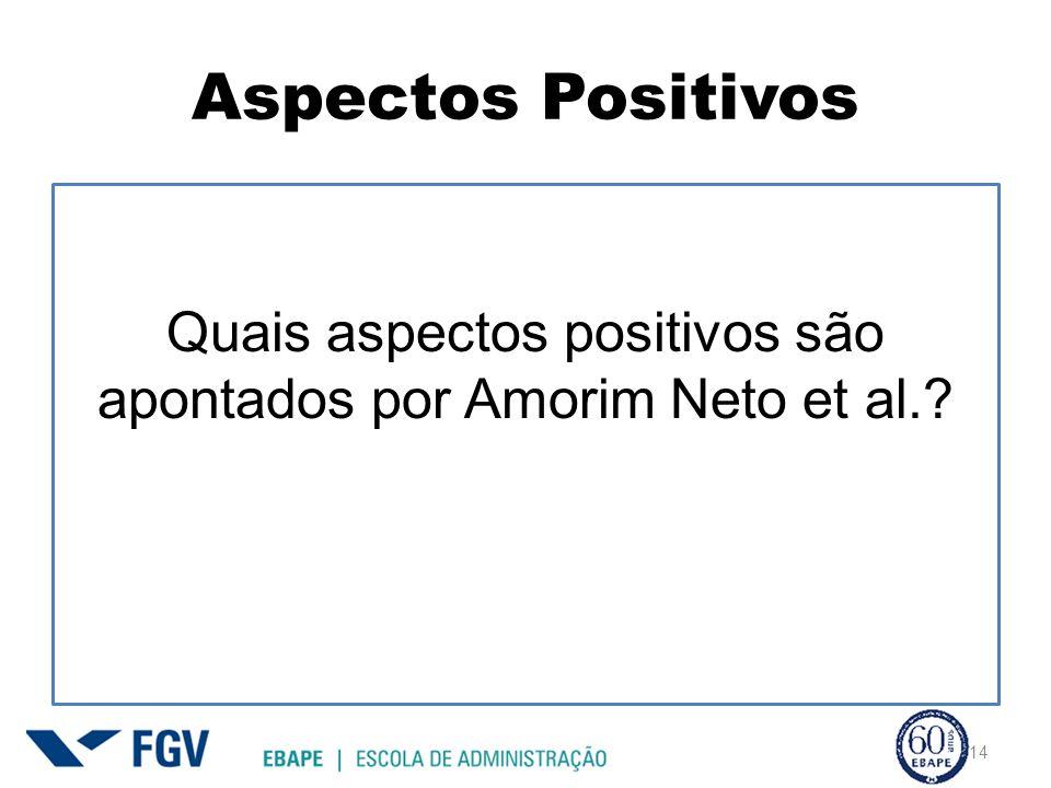 Aspectos Positivos Quais aspectos positivos são apontados por Amorim Neto et al.? 14