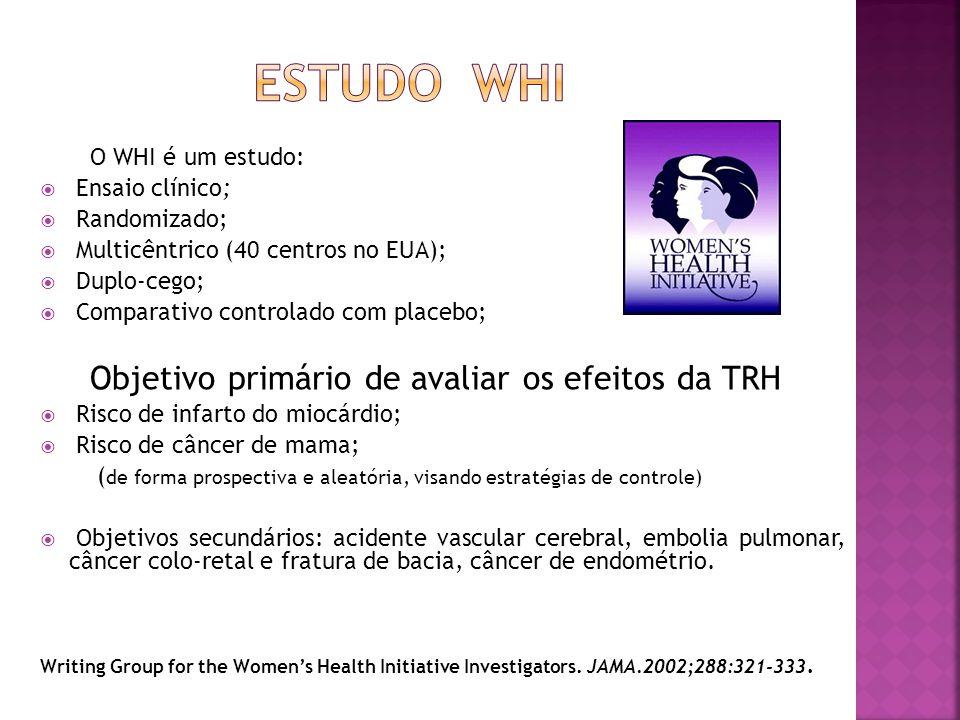 O WHI é um estudo: Ensaio clínico; Randomizado; Multicêntrico (40 centros no EUA); Duplo-cego; Comparativo controlado com placebo; Objetivo primário d