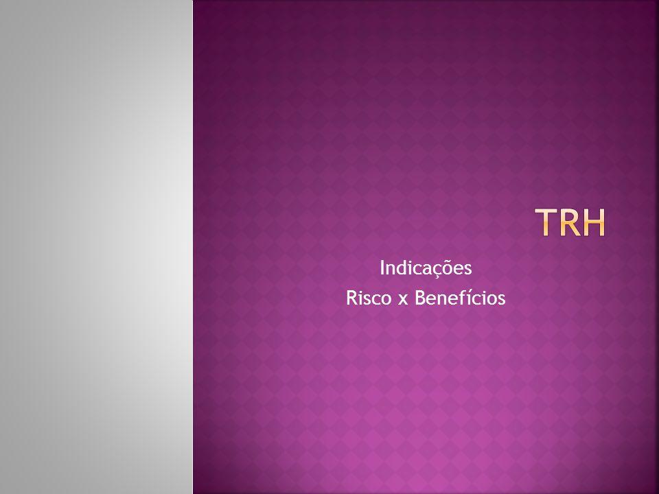 Indicações: Individualmente, comum acordo com a paciente e atentar para riscos e benefícios de cada caso; Existência de sintomas, indicação clara de TRH; Não deve ser prescrita se existir contra-indicação ou vontade de não usar; Projeto Diretrizes,2008