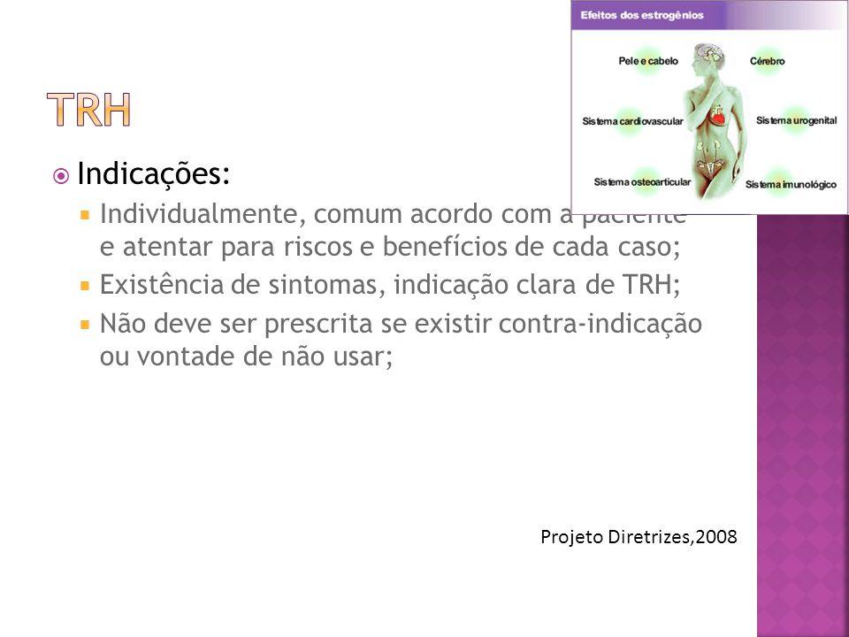 WHI- Características TRH n = 8,506 Placebo n = 8,102 Idade na seleção, anos63.2 (7.1)63.3 (7.1) Uso prévio de hormônio, % 26.125.6 I.M.C, kg/m228.5 (5.8)28.5 (5.9) Tabagistas ou ex- tabagistas % 50.450.0 Diabetes, %4.4 Hipertensão, %35.736.4 Uso de estatinas, %6.96.8 Ant.