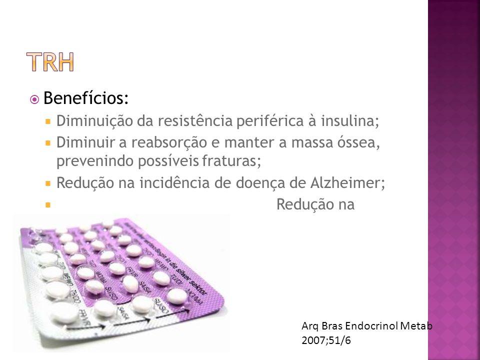Benefícios: Diminuição da resistência periférica à insulina; Diminuir a reabsorção e manter a massa óssea, prevenindo possíveis fraturas; Redução na i