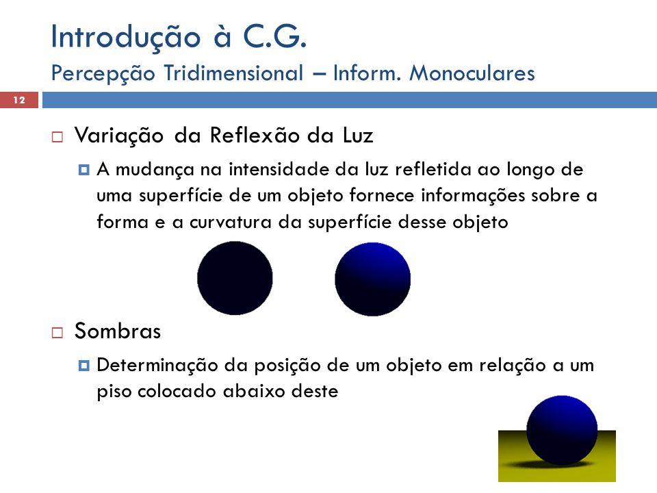 Informações ótico-motoras Fornecidas pelo movimento dos olhos, produzidos pelos dois conjuntos de músculos do globo ocular Tipos: Percepção Tridimensional 13 Introdução à C.G.