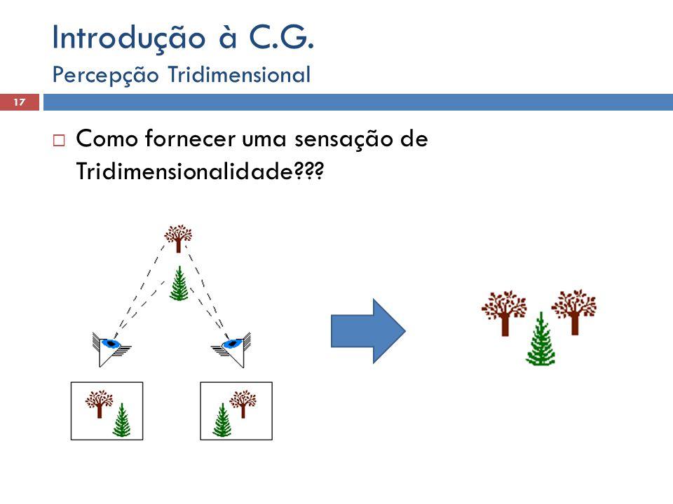 Como fornecer uma sensação de Tridimensionalidade??? Percepção Tridimensional 18 Introdução à C.G.
