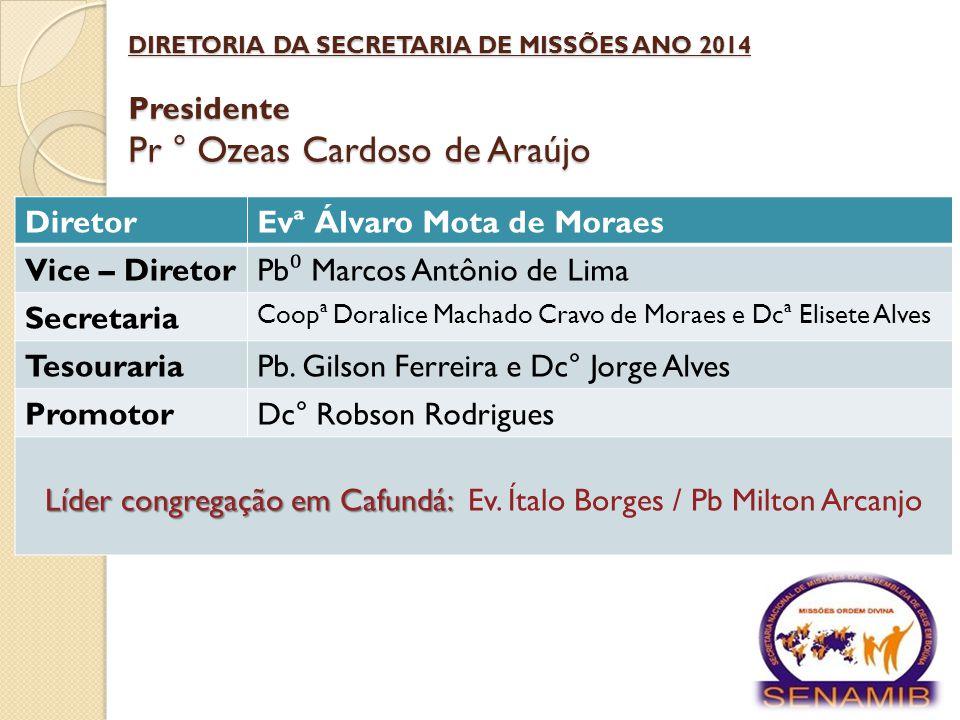 Secretaria Nacional de Missões DIRETORIA DA SECRETARIA DE MISSÕES ANO 2014 Presidente Pr ° Ozeas Cardoso de Araújo DiretorEvª Álvaro Mota de Moraes Vi