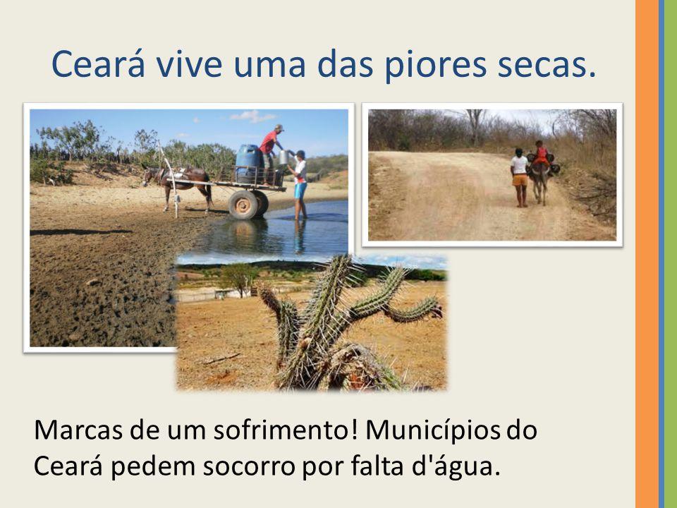 Com seca, agricultores do Ceará andam até 4 km para pegar água Ceará sofre uma das piores secas dos últimos 40 anos, diz Funceme.