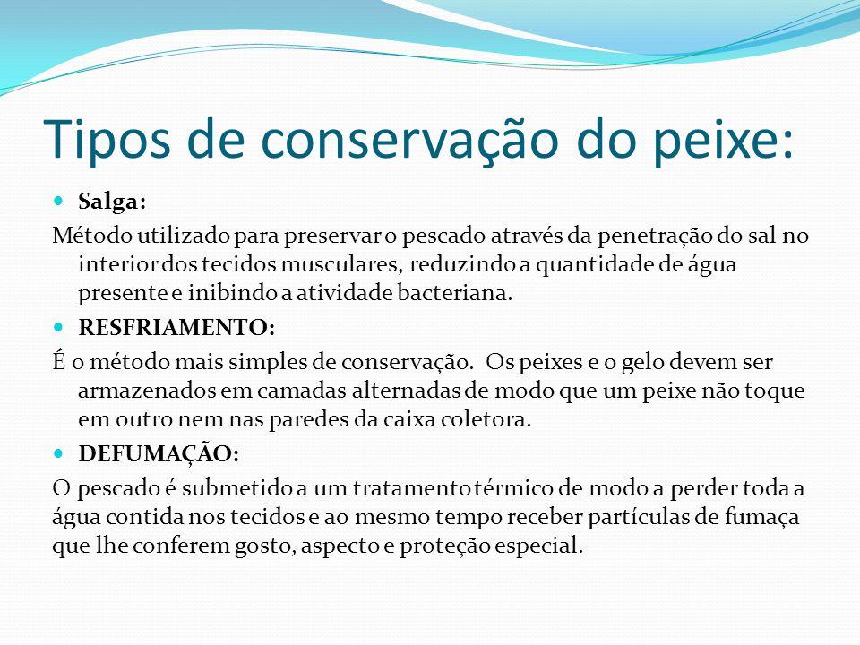 Tipos de conservação do peixe: Salga: Método utilizado para preservar o pescado através da penetração do sal no interior dos tecidos musculares, reduzindo a quantidade de água presente e inibindo a atividade bacteriana.