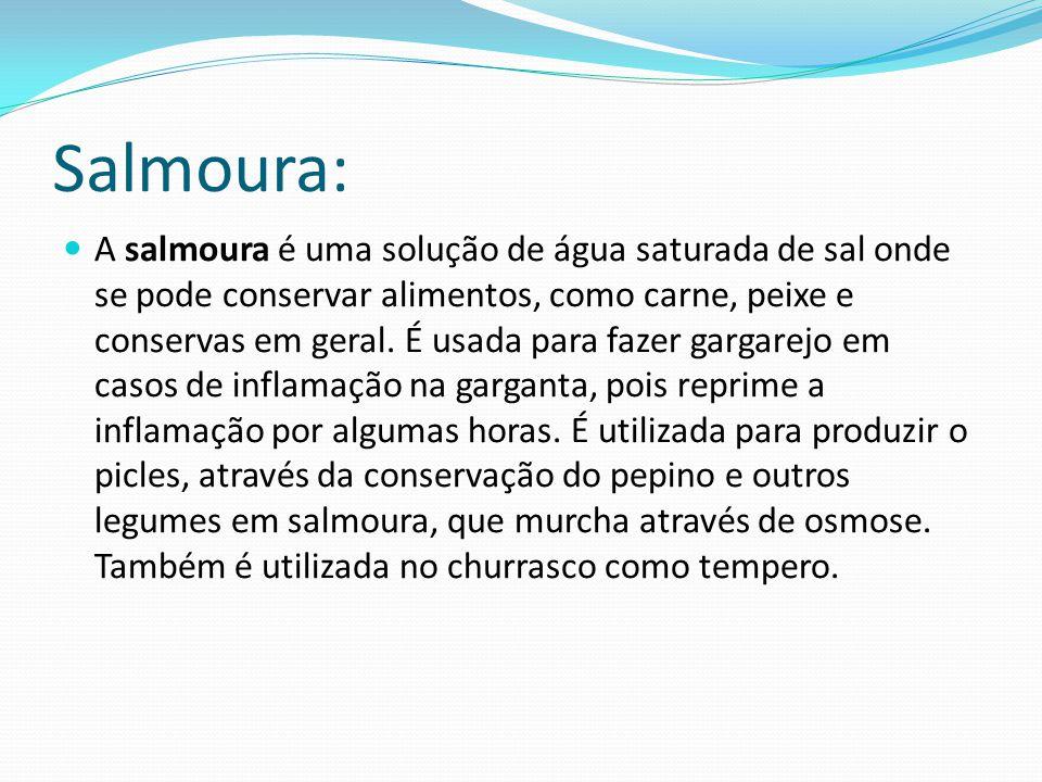 Salmoura: A salmoura é uma solução de água saturada de sal onde se pode conservar alimentos, como carne, peixe e conservas em geral.