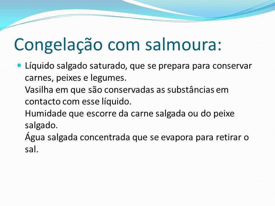 Salmoura: A salmoura é uma solução de água saturada de sal onde se pode conservar alimentos, como carne, peixe e conservas em geral. É usada para faze
