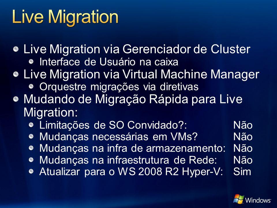 Live Migration via Gerenciador de Cluster Interface de Usuário na caixa Live Migration via Virtual Machine Manager Orquestre migrações via diretivas M