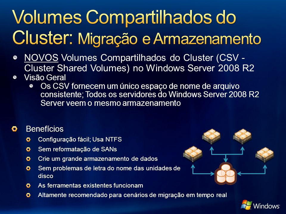 NOVOS Volumes Compartilhados do Cluster (CSV - Cluster Shared Volumes) no Windows Server 2008 R2 Visão Geral Os CSV fornecem um único espaço de nome de arquivo consistente; Todos os servidores do Windows Server 2008 R2 Server veem o mesmo armazenamento Benefícios Configuração fácil; Usa NTFS Sem reformatação de SANs Crie um grande armazenamento de dados Sem problemas de letra do nome das unidades de disco As ferramentas existentes funcionam Altamente recomendado para cenários de migração em tempo real