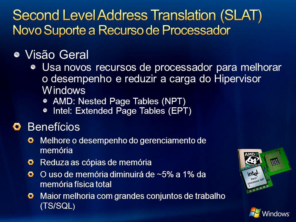 Visão Geral Usa novos recursos de processador para melhorar o desempenho e reduzir a carga do Hipervisor Windows AMD: Nested Page Tables (NPT) Intel: