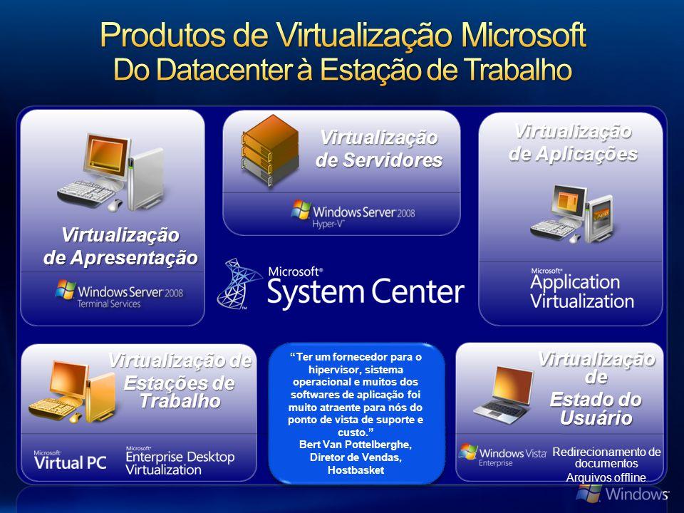 Virtualização de Apresentação Virtualização de Estado do Usuário Virtualização de Aplicações Virtualização de Estações de Trabalho Virtualização de Servidores Ter um fornecedor para o hipervisor, sistema operacional e muitos dos softwares de aplicação foi muito atraente para nós do ponto de vista de suporte e custo.