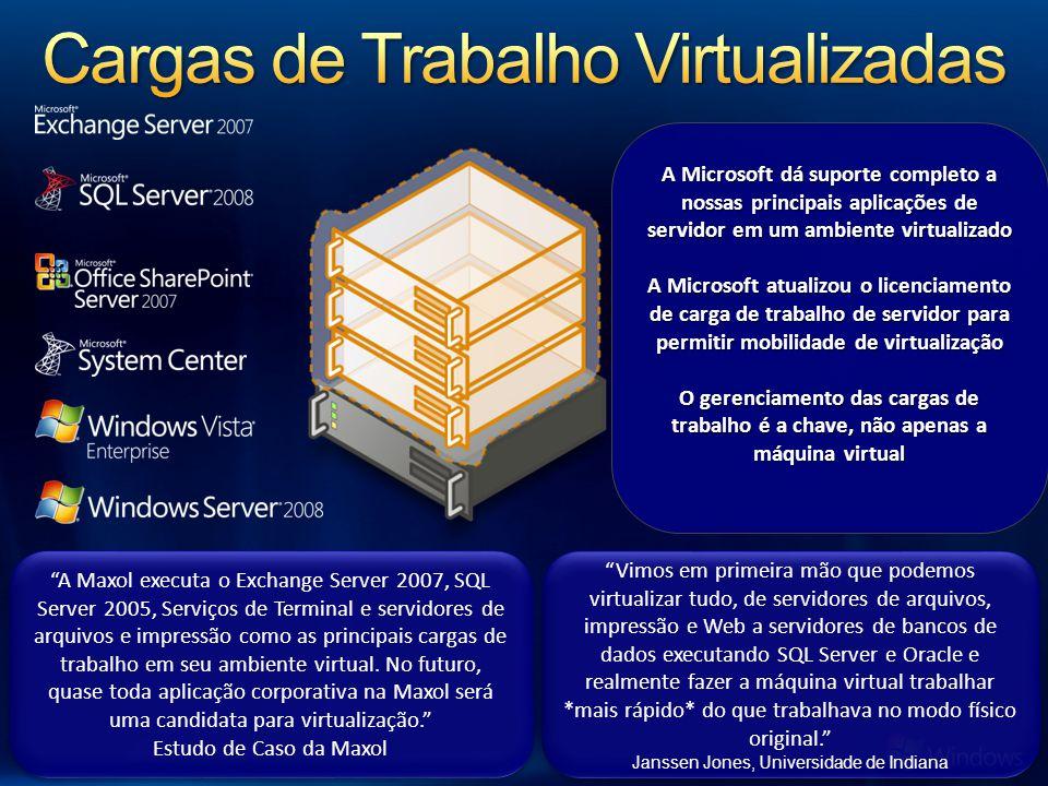 Visão Geral Dá ao Hyper-V a capacidade de utilizar até 64 do pool de processadores lógicos apresentado ao Windows Server 2008 R2 Benefícios Aumenta significativamente a densidade de servidores host Fornece facilmente vários processadores por máquina virtual