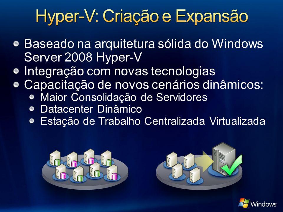 Windows Server 2008 VSP Kernel do Windows Aplicações OS Sem Reconhecimento de Hipervisor Windows Server 2003, 2008 Kernel do Windows VSC VMBus Emulação Hardware de Servidor Designed for Windows Hipervisor Windows Kernel Linux Habilitado para Xen Linux VSC Adaptador de Hiperchamada Partição Mãe Partições Filhas Serviço de VM Provedor de WMI Processo de Trabalho de VM SO ISV / IHV / OEM Microsoft Hyper-V Microsoft / XenSource Modo de Usuário Modo Kernel Fornecido por: Anel-1 Drivers de IHV VMBus Aplicações