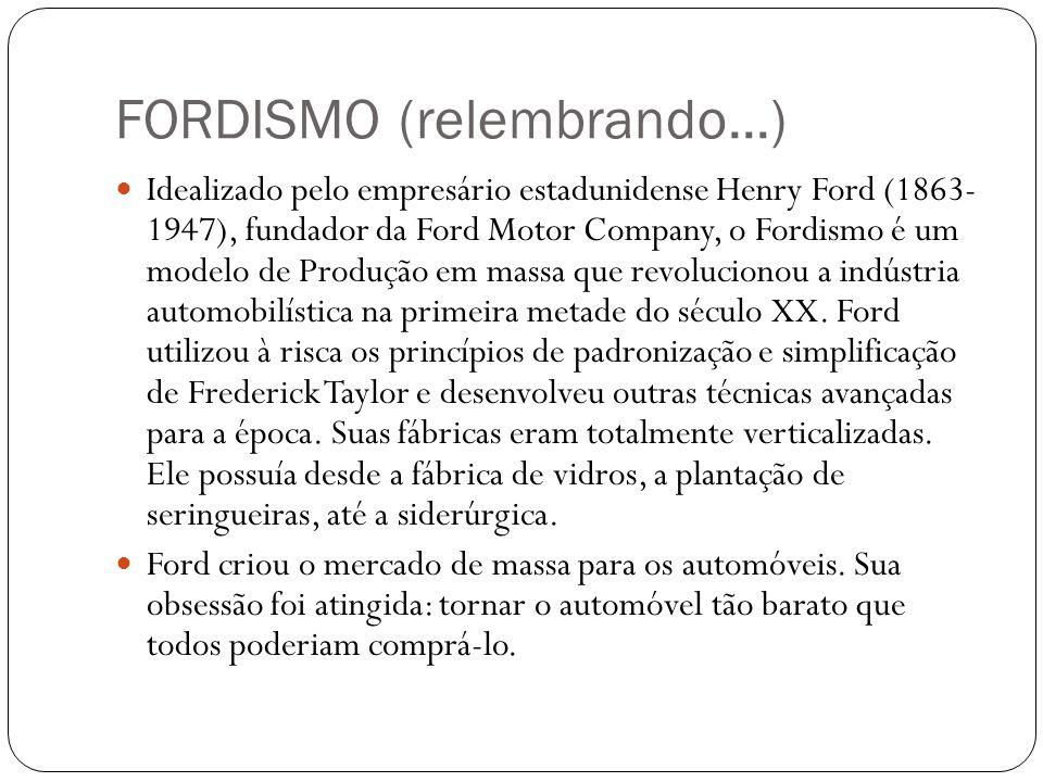 FORDISMO (relembrando...) Idealizado pelo empresário estadunidense Henry Ford (1863- 1947), fundador da Ford Motor Company, o Fordismo é um modelo de