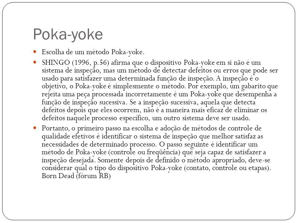 Escolha de um método Poka-yoke. SHINGO (1996, p.56) afirma que o dispositivo Poka-yoke em si não é um sistema de inspeção, mas um método de detectar d