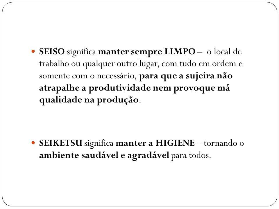 SEISO significa manter sempre LIMPO – o local de trabalho ou qualquer outro lugar, com tudo em ordem e somente com o necessário, para que a sujeira nã