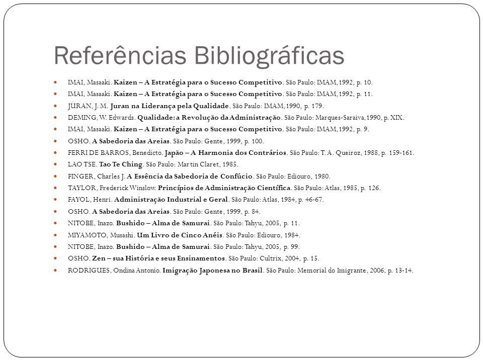 Referências Bibliográficas IMAI, Masaaki. Kaizen – A Estratégia para o Sucesso Competitivo. São Paulo: IMAM,1992, p. 10. IMAI, Masaaki. Kaizen – A Est