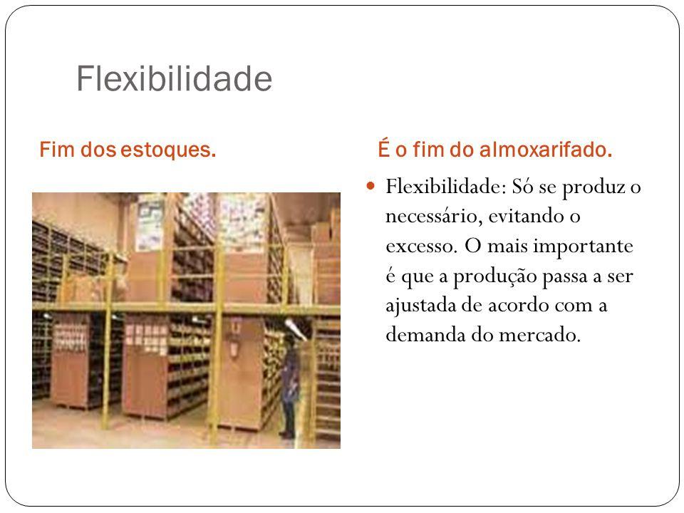 Flexibilidade Fim dos estoques.É o fim do almoxarifado. Flexibilidade: Só se produz o necessário, evitando o excesso. O mais importante é que a produç
