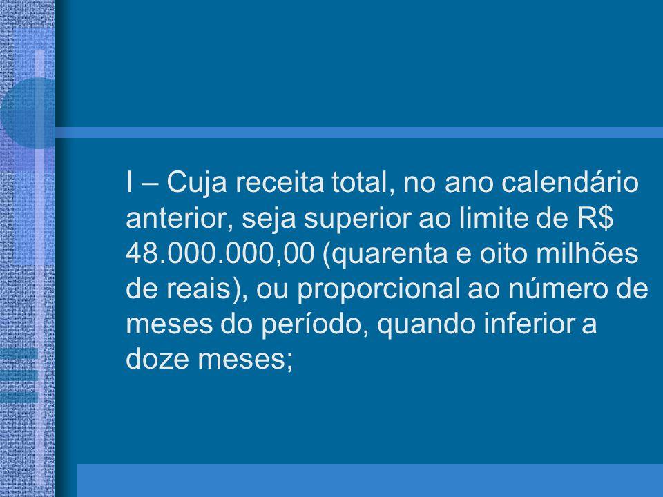I – Cuja receita total, no ano calendário anterior, seja superior ao limite de R$ 48.000.000,00 (quarenta e oito milhões de reais), ou proporcional ao