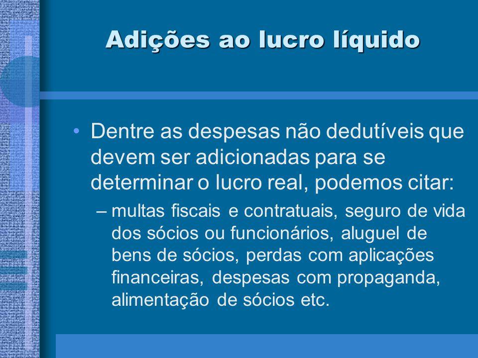 Adições ao lucro líquido Dentre as despesas não dedutíveis que devem ser adicionadas para se determinar o lucro real, podemos citar: –multas fiscais e