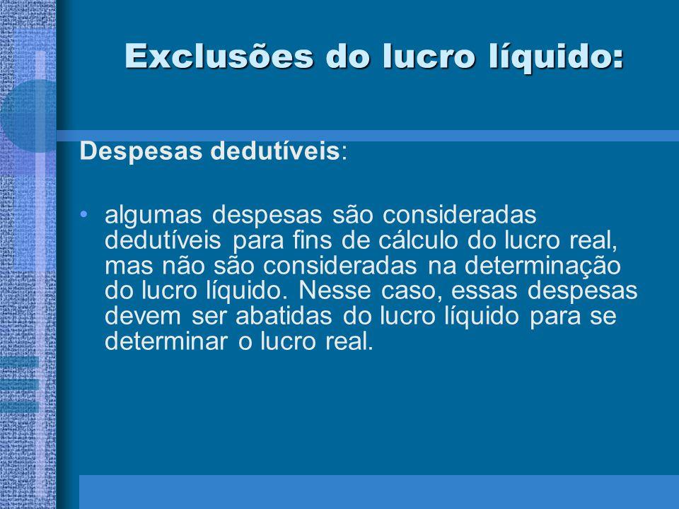 Exclusões do lucro líquido: Despesas dedutíveis: algumas despesas são consideradas dedutíveis para fins de cálculo do lucro real, mas não são consider