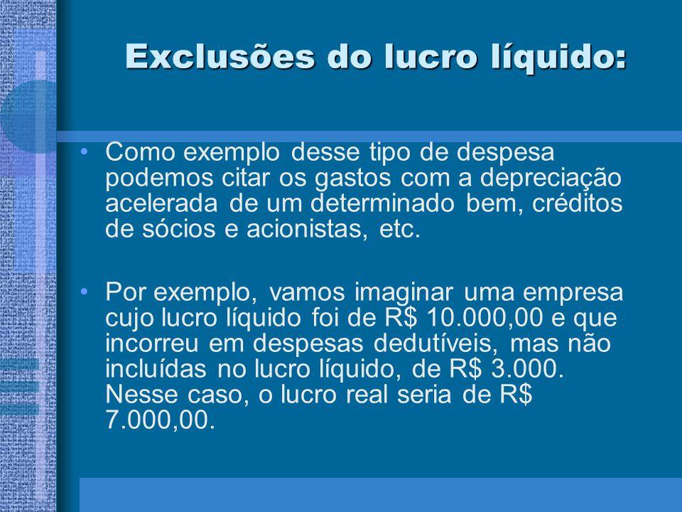 Exclusões do lucro líquido: Como exemplo desse tipo de despesa podemos citar os gastos com a depreciação acelerada de um determinado bem, créditos de