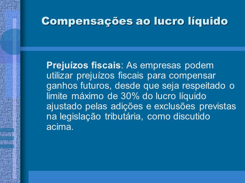 Compensações ao lucro líquido Prejuízos fiscais: As empresas podem utilizar prejuízos fiscais para compensar ganhos futuros, desde que seja respeitado