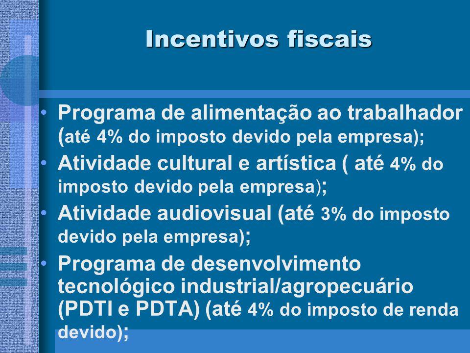 Incentivos fiscais Programa de alimentação ao trabalhador ( até 4% do imposto devido pela empresa); Atividade cultural e artística ( até 4% do imposto