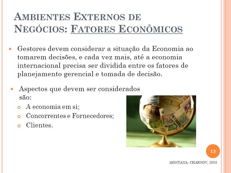A MBIENTES E XTERNOS DE N EGÓCIOS : F ATORES E CONÔMICOS Aspectos que devem ser considerados são: A economia em si; Concorrentes e Fornecedores; Clien
