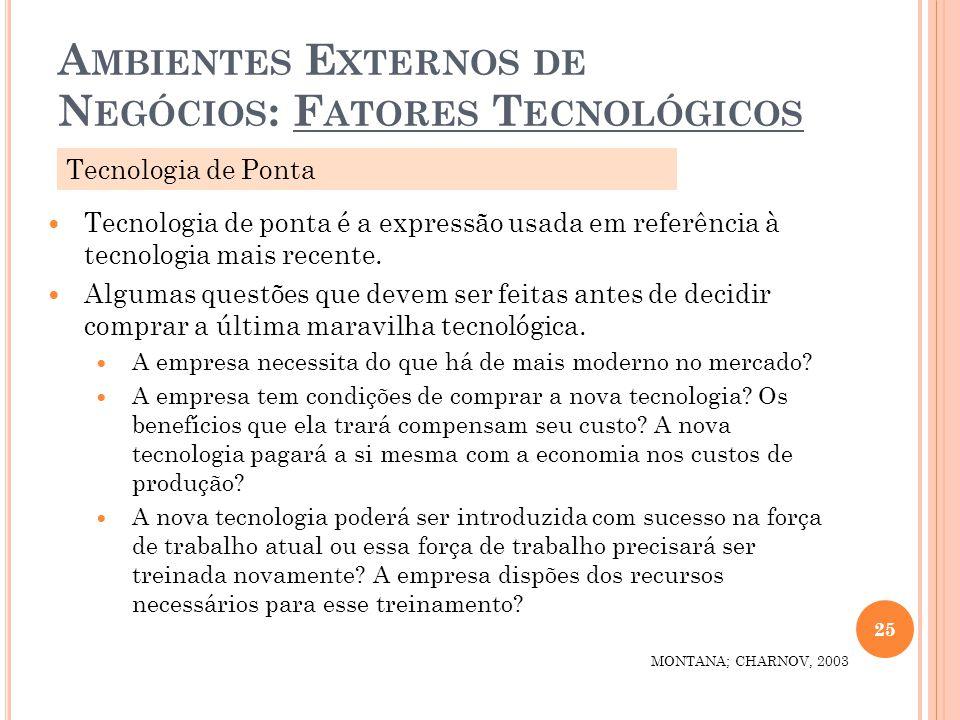 A MBIENTES E XTERNOS DE N EGÓCIOS : F ATORES T ECNOLÓGICOS 25 MONTANA; CHARNOV, 2003 Tecnologia de ponta é a expressão usada em referência à tecnologi
