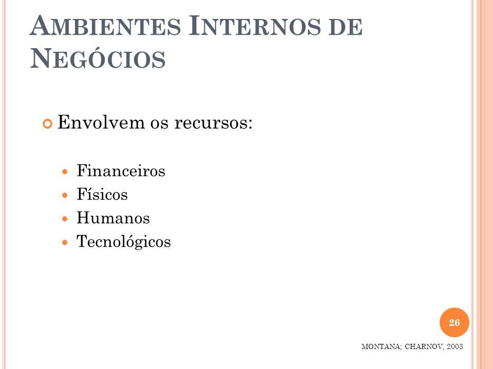 A MBIENTES I NTERNOS DE N EGÓCIOS Envolvem os recursos: Financeiros Físicos Humanos Tecnológicos 26 MONTANA; CHARNOV, 2003