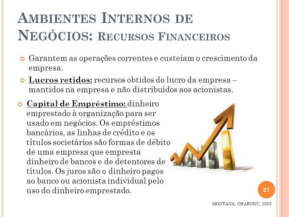 A MBIENTES I NTERNOS DE N EGÓCIOS : R ECURSOS F INANCEIROS Garantem as operações correntes e custeiam o crescimento da empresa. Lucros retidos: recurs