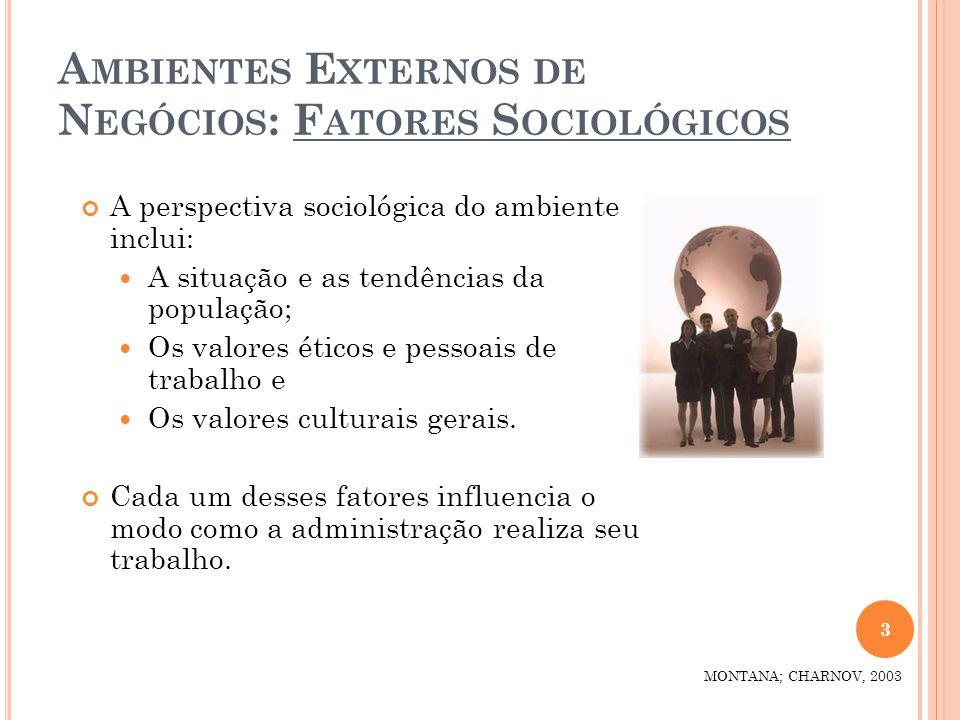A MBIENTES E XTERNOS DE N EGÓCIOS : F ATORES S OCIOLÓGICOS A perspectiva sociológica do ambiente inclui: A situação e as tendências da população; Os v