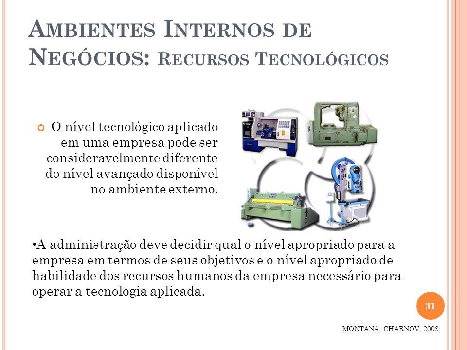 A MBIENTES I NTERNOS DE N EGÓCIOS : R ECURSOS T ECNOLÓGICOS O nível tecnológico aplicado em uma empresa pode ser consideravelmente diferente do nível