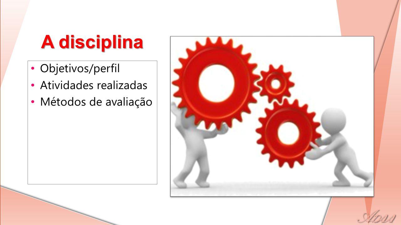 Objetivos/perfil Atividades realizadas Métodos de avaliação