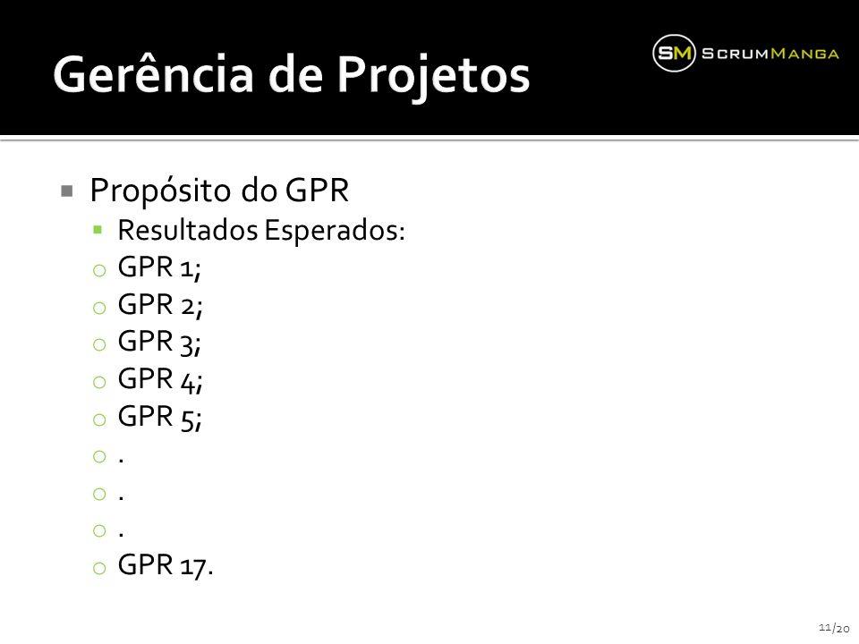 Propósito do GPR Resultados Esperados: o GPR 1; o GPR 2; o GPR 3; o GPR 4; o GPR 5; o.