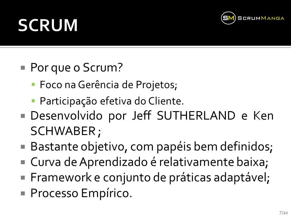 Por que o Scrum? Foco na Gerência de Projetos; Participação efetiva do Cliente. Desenvolvido por Jeff SUTHERLAND e Ken SCHWABER ; Bastante objetivo, c