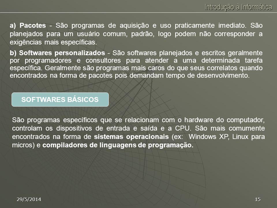 Introdução à Informática 29/5/201414 SOFTWARE Instruções - Comando que define uma operação a ser executada. Programa - Conjunto de instruções, ordenad