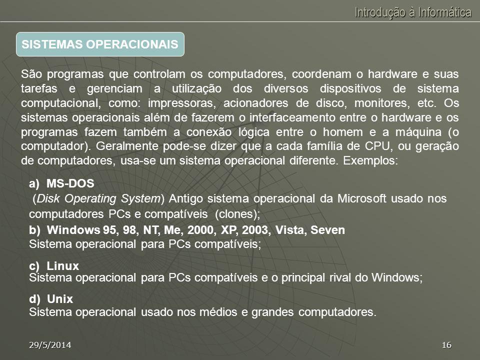Introdução à Informática 29/5/201415 a) Pacotes - São programas de aquisição e uso praticamente imediato. São planejados para um usuário comum, padrão