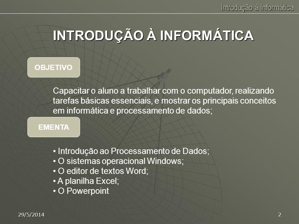 Introdução à Informática Prof. Carlos Gonçalves São Luís, MA 29/5/2014